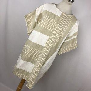 Ace&Jig M Medium Dress White Tan Stripe Gauze